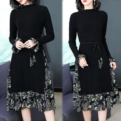 【韓國K.W.】(預購)韓式名媛簡約舒適假二件洋裝-2色
