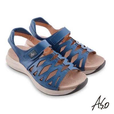 A.S.O 機能休閒 輕穩健康鞋牛皮網格休閒涼鞋- 藍