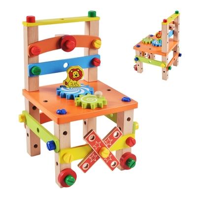 colorland兒童玩具百變魯班椅 益智玩具鎖螺絲積木椅