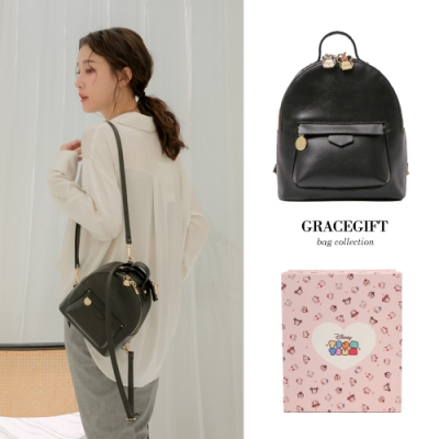 Disney collection by grace gift- Tsum Tsum米奇雙拉鍊後背包 黑