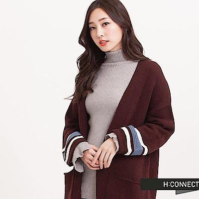 H:CONNECT 韓國品牌 女裝 - 跳色針織開襟長外套-酒紅(快)
