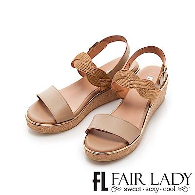 Fair Lady 光澤感波浪編織一字楔型涼鞋 棕