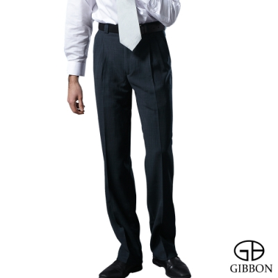 GIBBON 簡約格紋紳仕打摺西裝褲‧暗藍