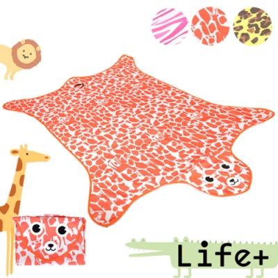 Life Plus 動物叢林 造型野餐墊/遊戲墊_加大款 (橘色_鹿紋)