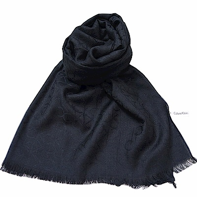 CK Calvin Klein 經典刺繡LOGO寬版圍巾(黑)
