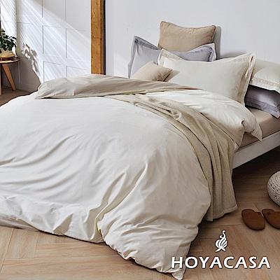 HOYACASA簡單生活 加大300織長纖細棉被套床包四件組-柔依白