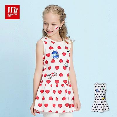 JJLKIDS 絢爛滿版愛心無袖洋裝(2色)