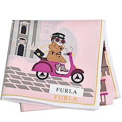 FURLA 可愛貴婦教堂兜風圖騰字母LOGO帕領巾(粉紅)