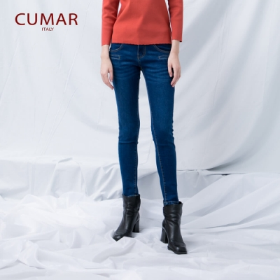 【CUMAR】造型口袋單寧窄管女褲-長褲(藍色)
