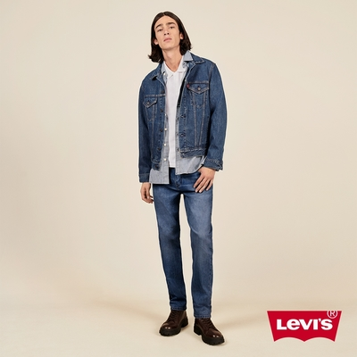 Levis 男款 上寬下窄 502Taper牛仔褲 中藍刷白 彈性布料