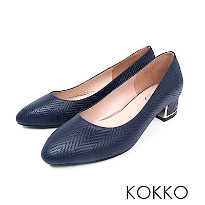 KOKKO - 復古意象素面真皮彎折粗跟鞋 - 莫藍迪