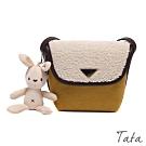 兔吊飾羊羔毛拼接側背小包 共二色 TATA