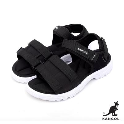 【KANGOL】英式寬版記憶鞋墊休閒涼鞋-女-黑