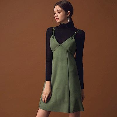 AIR SPACE LADY 個性麂皮吊帶洋裝(綠)