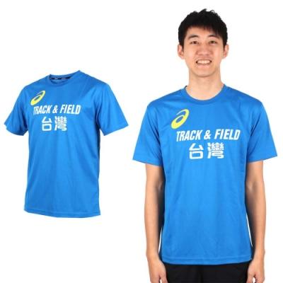 ASICS LOGO TRACK AND FIELD 男短袖上衣-T恤 亞瑟士 K11613-43TAF 藍黃