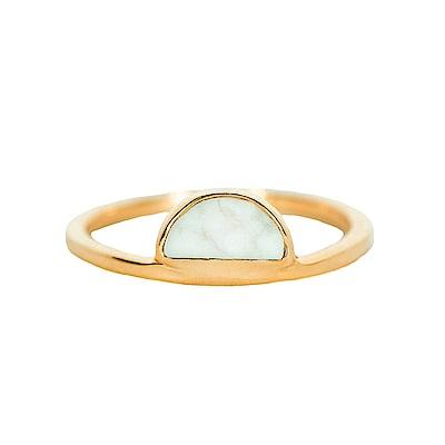 Pura Vida 美國手工 半月白紋石金色戒指