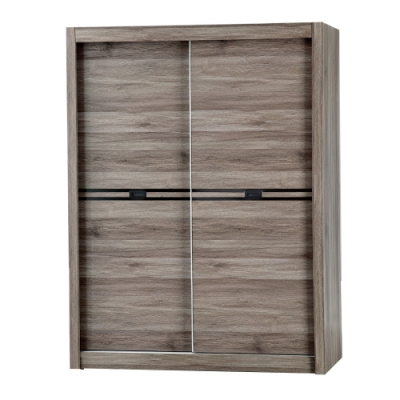 【AT HOME】日式簡約5X7尺灰橡木紋推門衣櫃/收納櫃(巧克力)