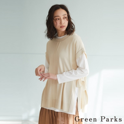 Green Parks 【SET ITEM】側邊綁帶落肩造型背心+白色素面長T