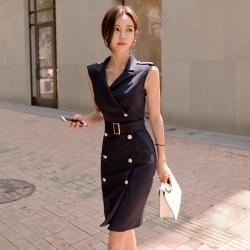 IMStyle 西裝領排扣顯瘦連身洋裝(藍色)