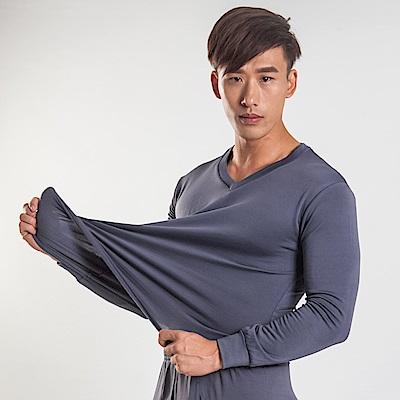 G+居家 男款束口刷毛暖暖衣-V領-灰色