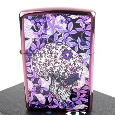 ZIPPO 美系~Hidden Skull-花卉骷髏圖案設計打火機