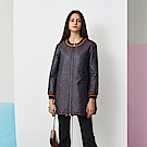 ICHE 衣哲 時尚羊毛立體提花拼接設計長版造型風衣外套-藏藍