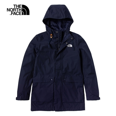 The North Face北面男款深藍色防水透氣連帽衝鋒衣|7QR9L4U