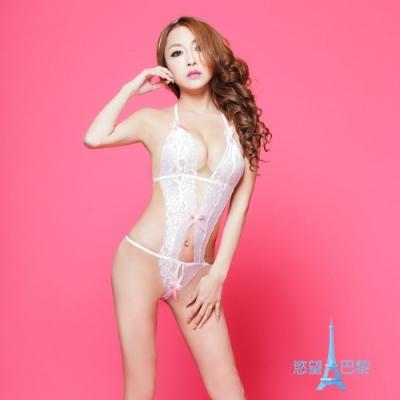 Sweets lady-情趣內衣感透明蕾絲連體蝴蝶結露奶(C3354)