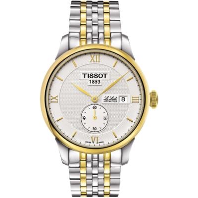 TISSOT Le Locle Gent 力洛克小秒針機械腕錶-銀x雙色版/39mm T0064282203801