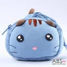 ABS貝斯貓 饅頭貓 可愛拼布拉鏈零錢包(天空藍)88-124