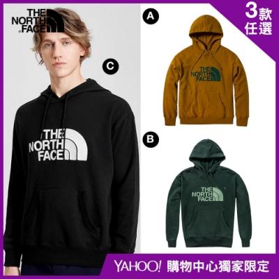【The North Face】YAHOO獨家限定-北面男女款休閒大學T-3色任選