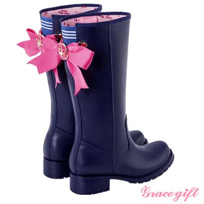 Grace gift-美少女戰士月光仙子緞帶雨靴 深藍