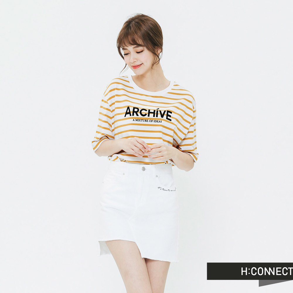 H:CONNECT 韓國品牌 女裝-條紋標語圓領T-shirt-黃