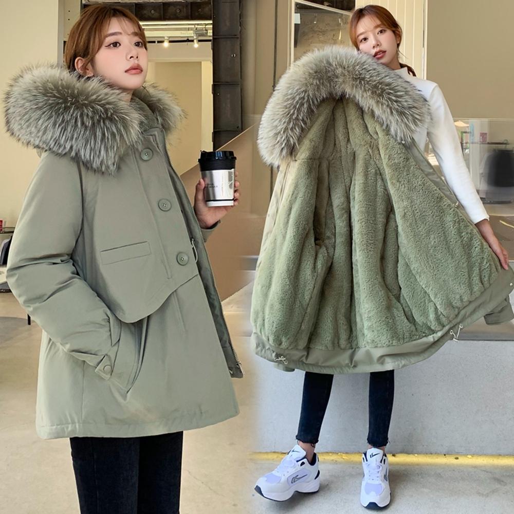 簡約百搭大毛領加絨加厚保暖短款外套M-2XL(共六色)-WHATDAY (軍綠)