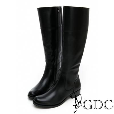 GDC-真皮時尚歐美都會素色基本長靴-黑色