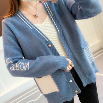 艾米蘭-多色單排扣造型字母袖針織外套-4色-F