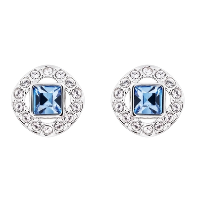 SWAROVSKI施華洛世奇 Angelic Square 藍水晶穿孔耳環