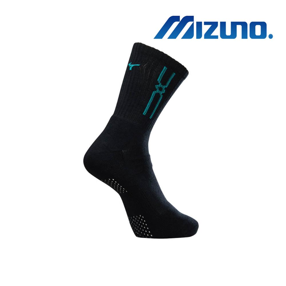 MIZUNO 男運動厚底襪 5入 黑X綠 32TX900893