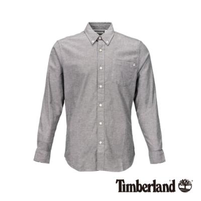 Timberland 男款灰色色織經典彈力牛津紡長袖襯衫|A1WNK