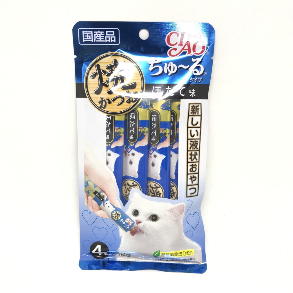 日本 CIAO 啾嚕鰹魚燒肉泥 4R-105 干貝風味 12g*4入