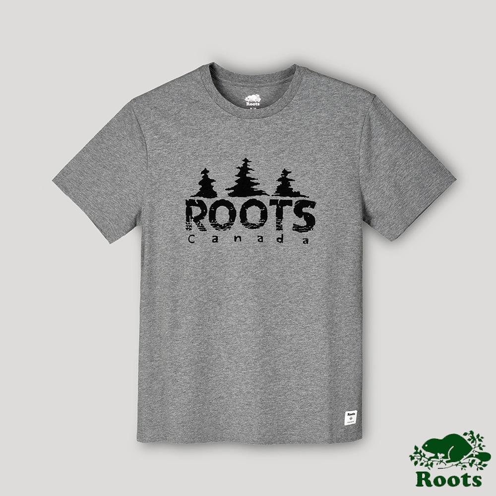 Roots男裝-戶外野營系列 加拿大人森林戳章短袖T恤-灰色