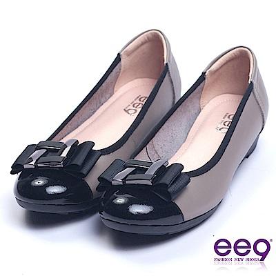 ee9 經典手工異材質併接柔軟舒適楔型娃娃鞋 灰色