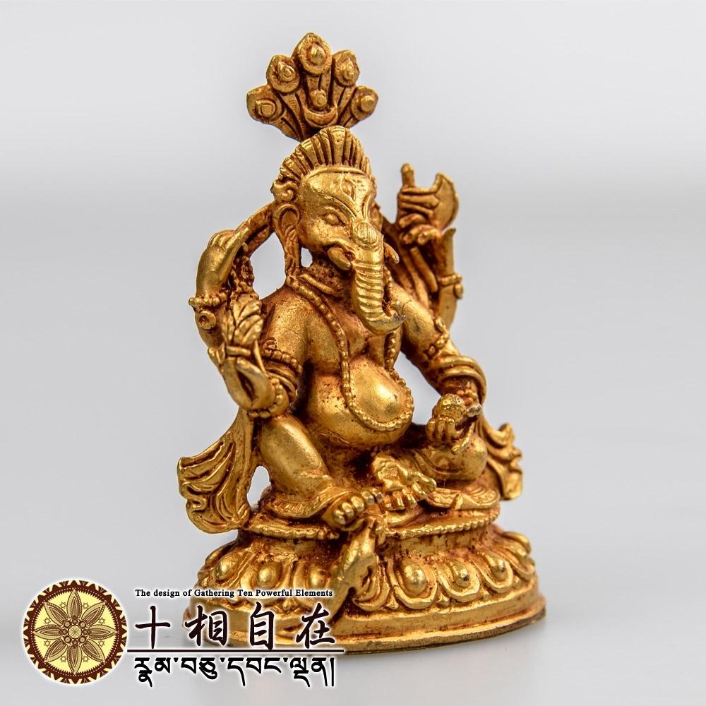 【十相自在】象鼻財神小佛像 金色法像 Tshogdag Karpo