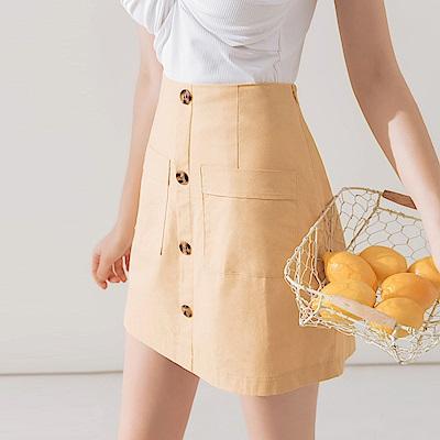 AIR SPACE 純色口袋排釦A字裙(黃)