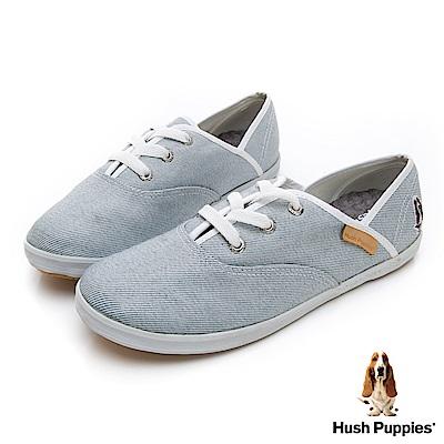 Hush Puppies 單寧風潮咖啡紗帆布鞋-淺藍