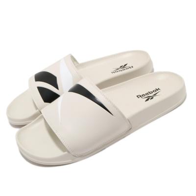 Reebok 涼拖鞋 Classic Slide 套腳 男女鞋 輕便 夏日 大logo 情侶穿搭 簡約 卡其 黑 FW5753