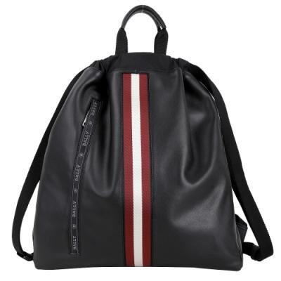 BALLY HAVIER 經典條紋織帶牛皮手提/後背包(黑色)