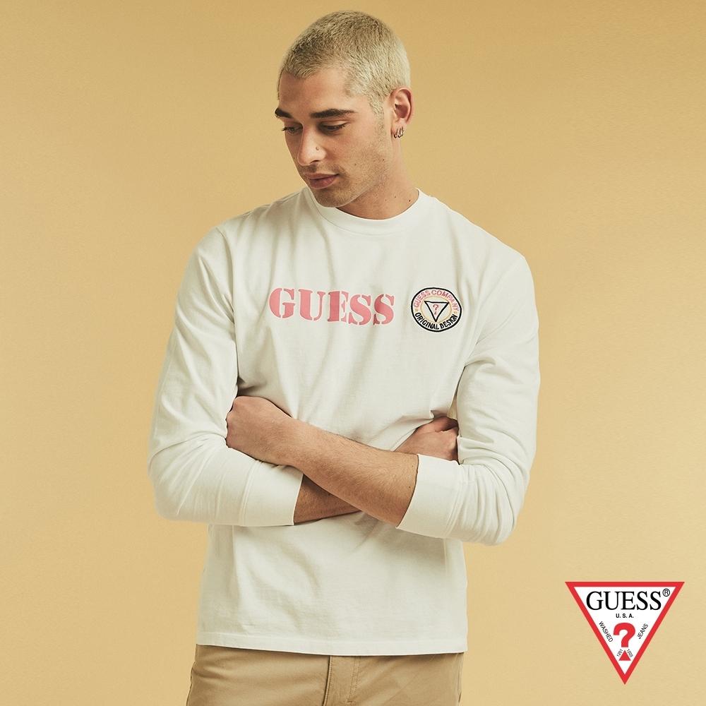 GUESS-男裝-ORIGINALS系列撞色刺繡LOGO長袖T恤-白 原價1790