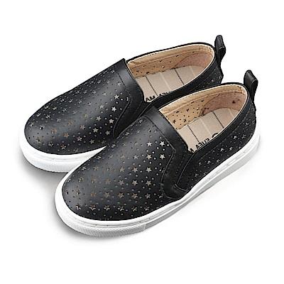 BuyGlasses 透氣舒適星星兒童懶人鞋-黑