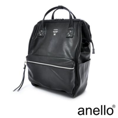 anello PREMIUM CLASP復古皮革色調 筆電後背包 黑色 Large